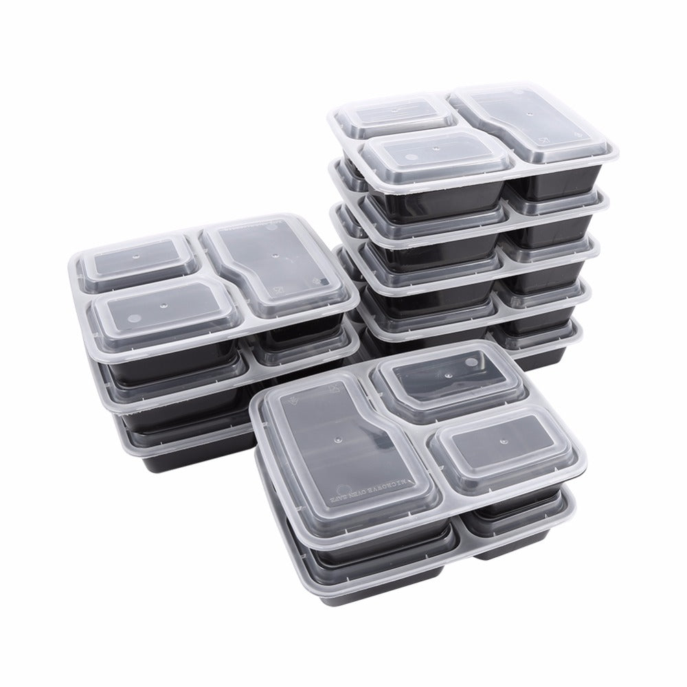 10pc Eco Friendly 3 Compartment Meal Prep Containers No Leak BPA