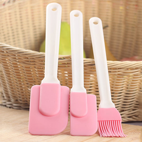 Set of 2 Silicone Cake Cream Spatula + 1Oil Brush, Home Goods Outlet