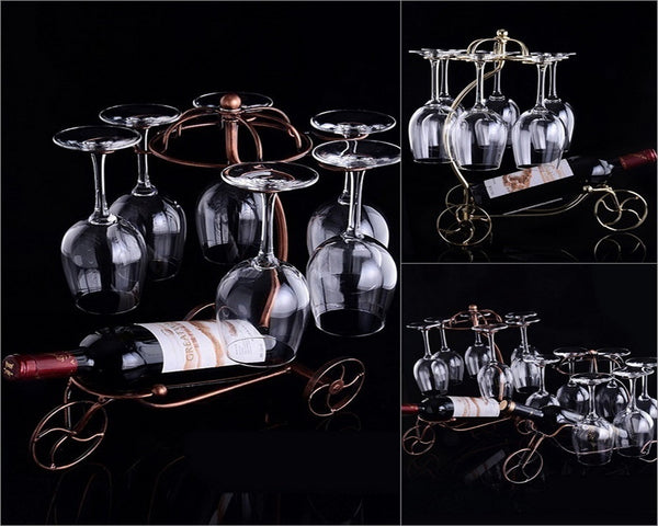 European Style Tricycle Wine Bottle Glasses Holder, Home Goods Outlet