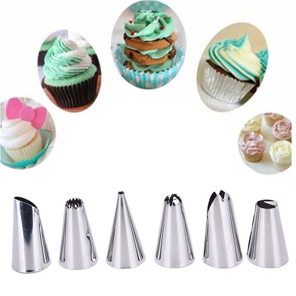 Set of 6 Nozzle Icing + 1 Reusable Cream Pastry Bag, Home Goods Outlet