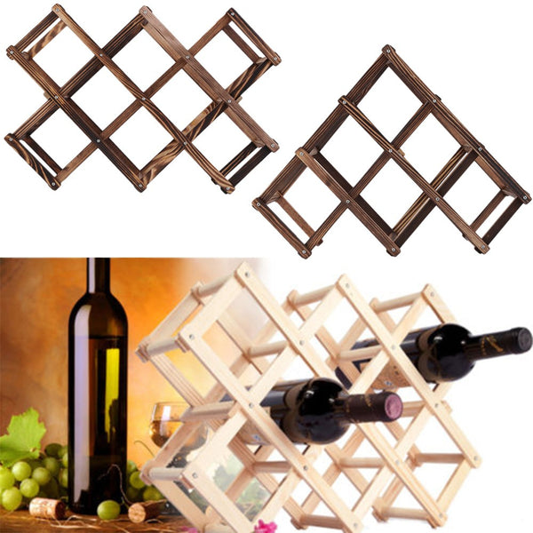 Classical Wooden Red Wine Rack for 10 Bottles, Home Goods Outlet