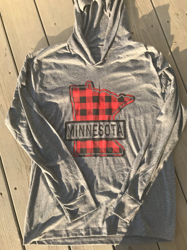 Long Sleeve T-Shirt Hoodie- Buffalo Plaid Design