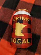 """Drink Local"" Buffalo Plaid Can Koozie"