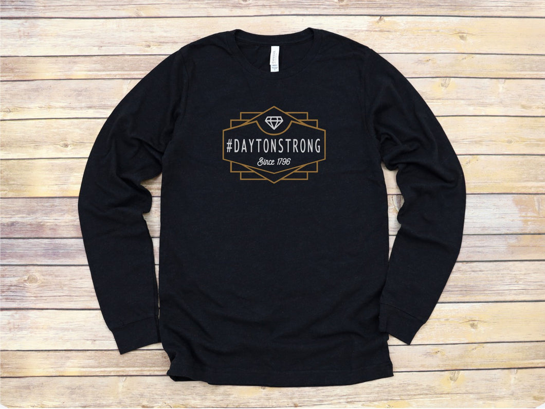 Long Sleeve #daytonstrong- art deco -adult-  Free shipping