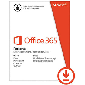 Microsoft Office 365 Personal Download (1 PC or Mac License / 1-Year Subscription)