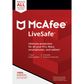 McAfee LiveSafe Download (Unlimited Devices, 1-Year Protection) - Protect all your devices