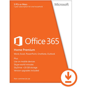 Microsoft Office 365 Home Download (5 PC or Mac License / 1-Year Subscription)