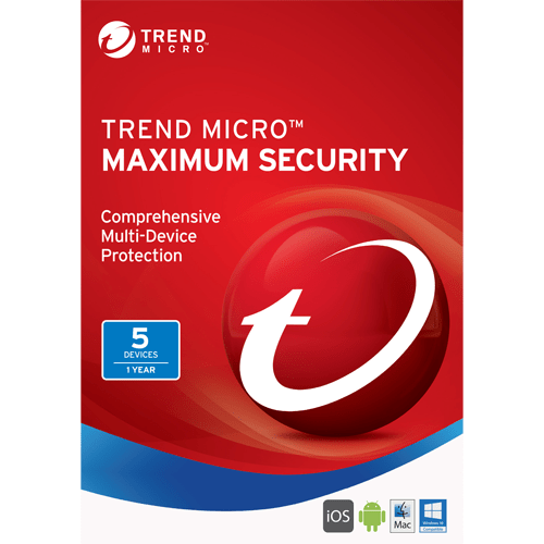 Trend Micro Maximum Security 2017 Download (5 Devices, 1-Year Protection)