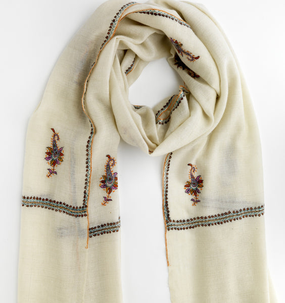 Paisley Embroidered Cashmere Scarf