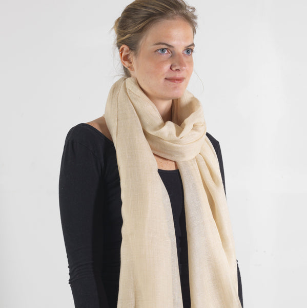 Natural Pale Gold Cashmere Scarf