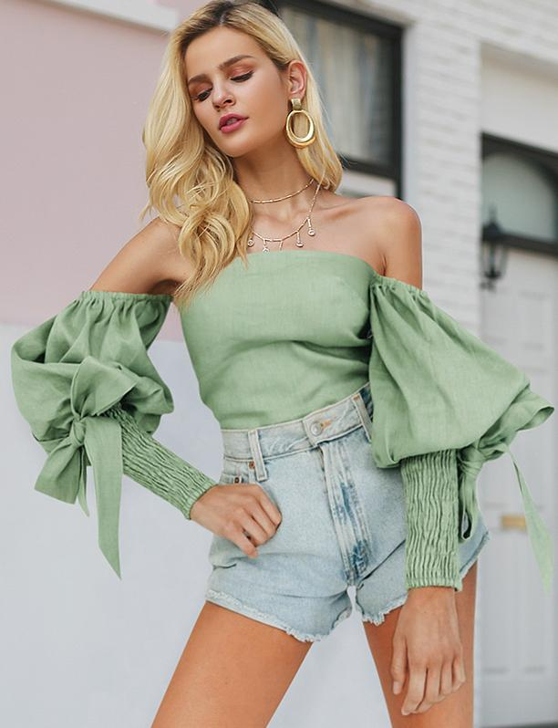 Dolce Vita Off Shoulder Top Green