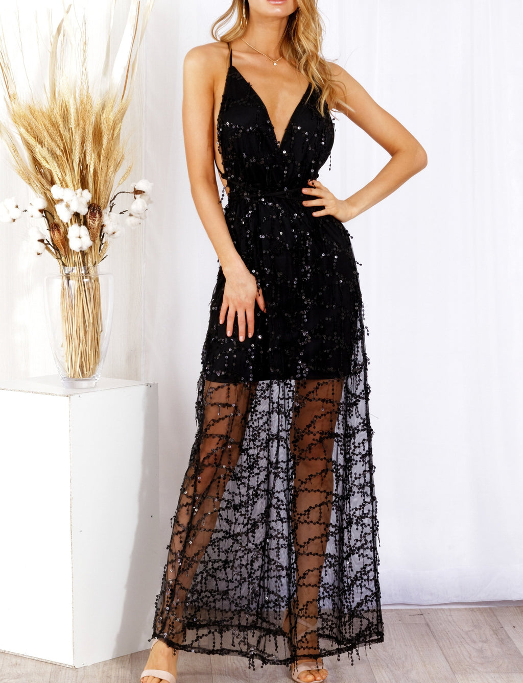 Shine Bright Maxi Dress Black