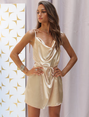 Magnolia Satin Mini Dress Champagne