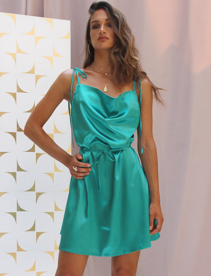 Alexa Satin Mini Dress Emerald