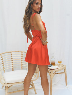 Maddie Satin Mini Dress Orangeade