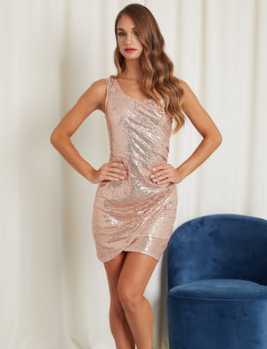 Sexy Rose Gold Sequin One Shoulder Dress