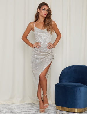 Shine Me Up Sequin Maxi Dress Silver