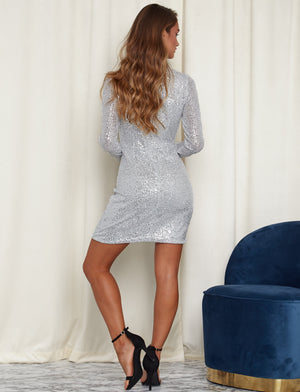 Look At Me Sparkly Long Sleeve Dress Silver