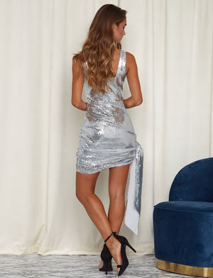 Leila Sequin Party Mini Dress Silver