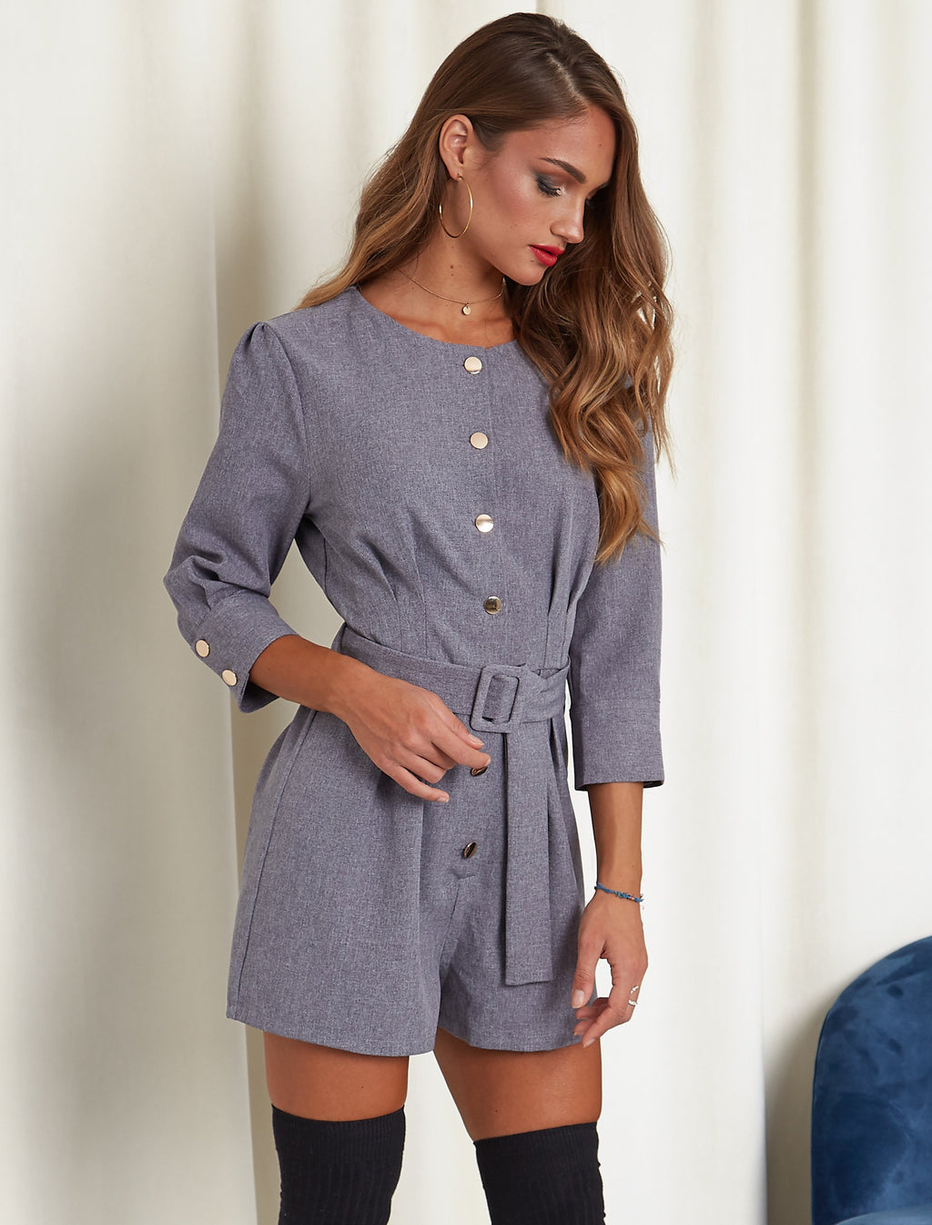 About Today Short Romper Gray