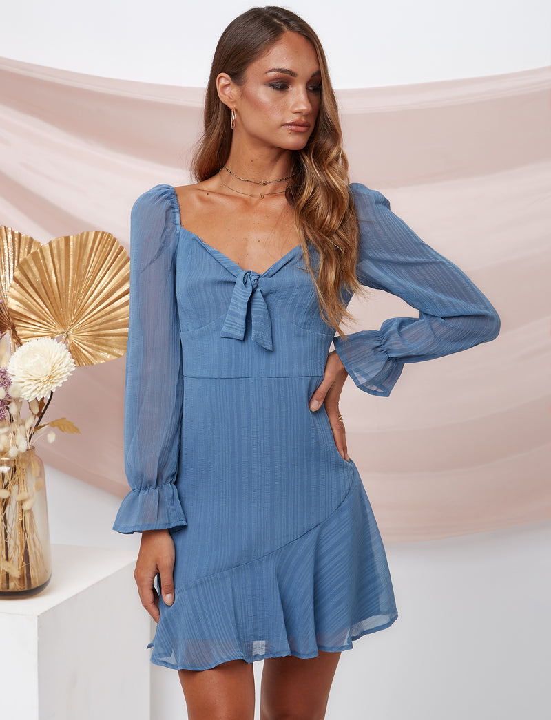 Edith Long Sleeve Dress Blue