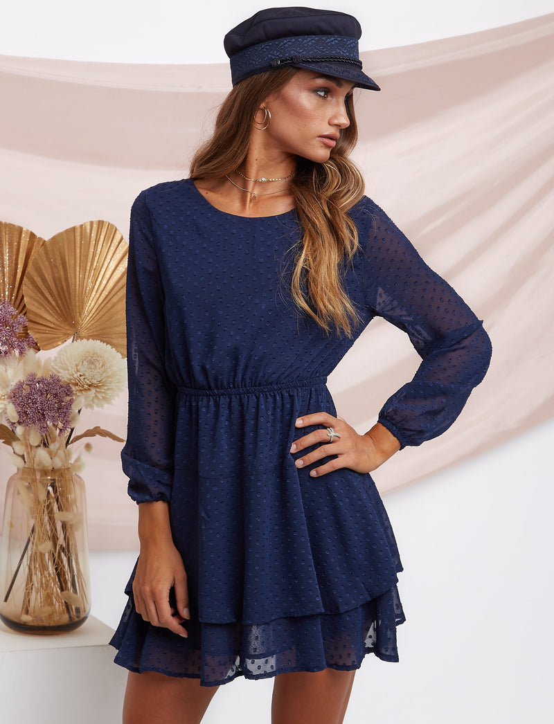 Jessie Mini Polka Dress Navy Blue