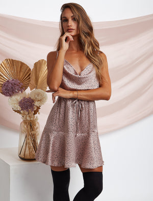 Frieda Satin Polka Dot Mini Dress Pink