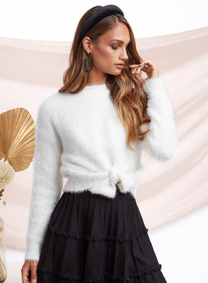 Adele Wrap-Up Sweater White