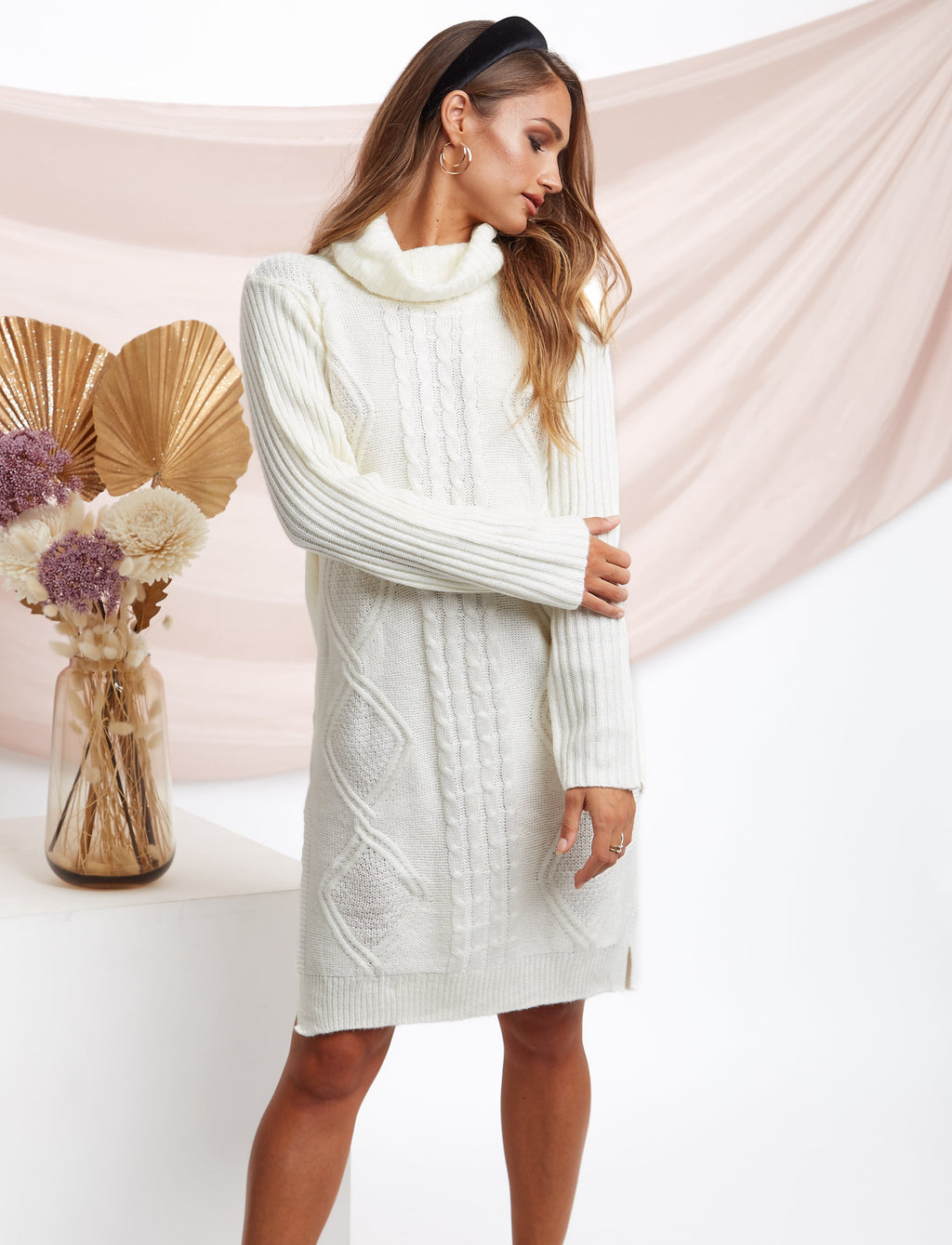 Jenny Turtle Neck Sweater Dress Beige