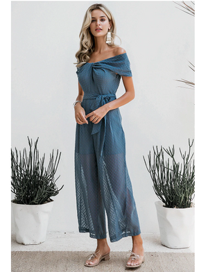 Patty Off Shoulder Jumpsuit Blue
