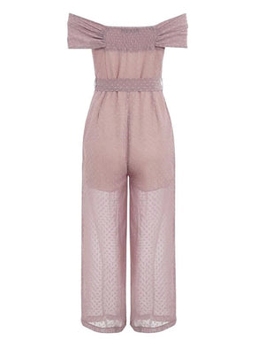 Patty Off Shoulder Jumpsuit Pink
