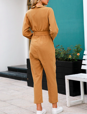 Jessie Long Sleeve V Neck Jumpsuit
