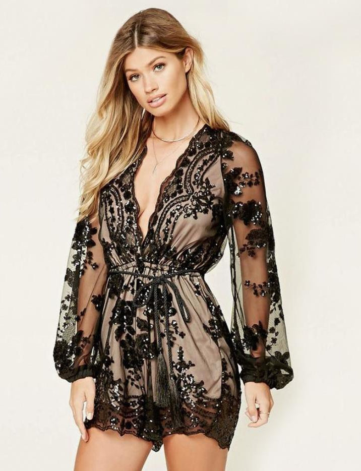 Elegant V Neck Black Romper