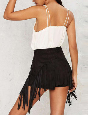 High & Low Tassel Shorts
