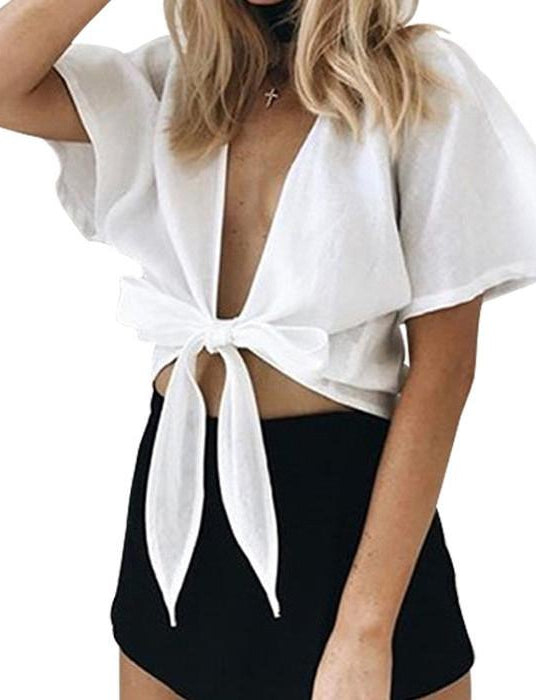 V Neck Wrap Up Crop