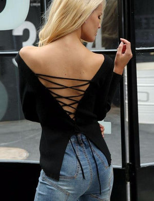 Sexy Lace Up Knit