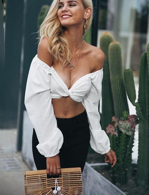 V Neck White Crop