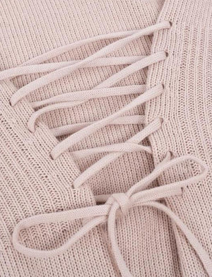 Knit n' Lace Up Top