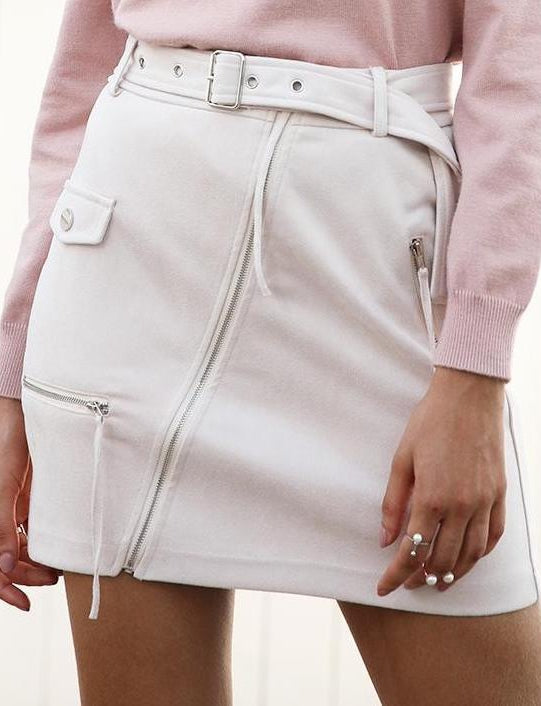 Suede Biker Mini Skirt