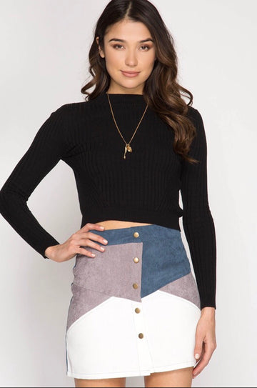 Corduroy Patch Mini Skirt