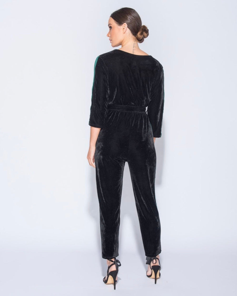Neck Velvet Jumpsuit