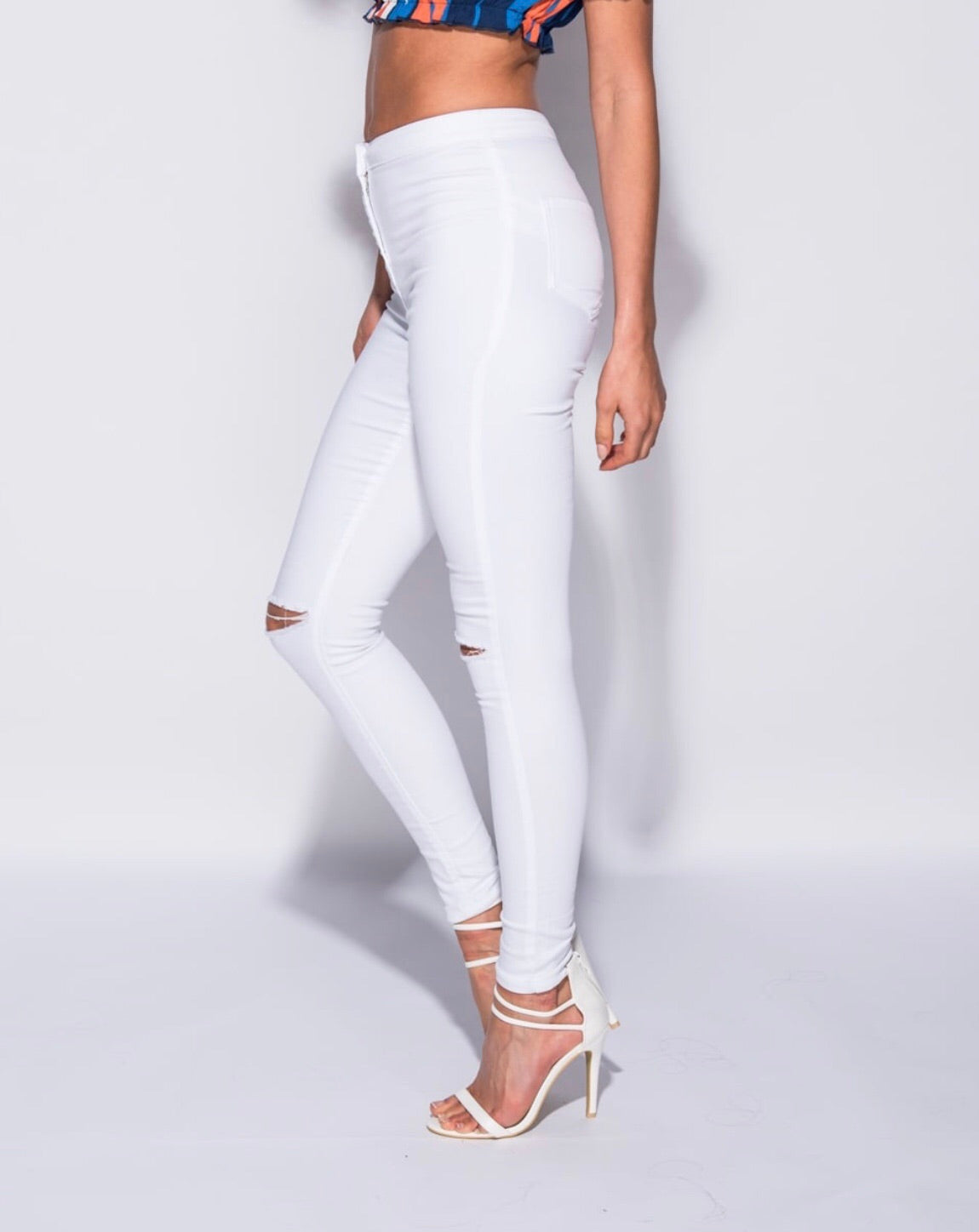 White High Waisted Jegguings