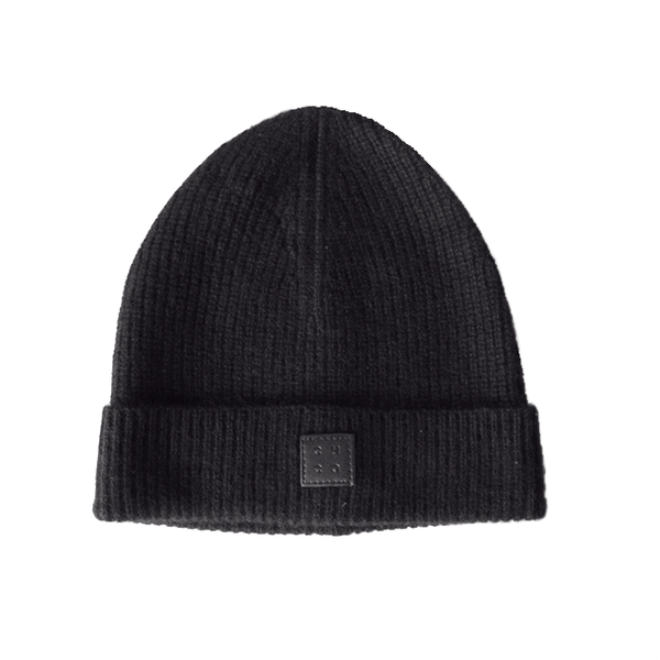 black ribbed 100% cashmere beanie