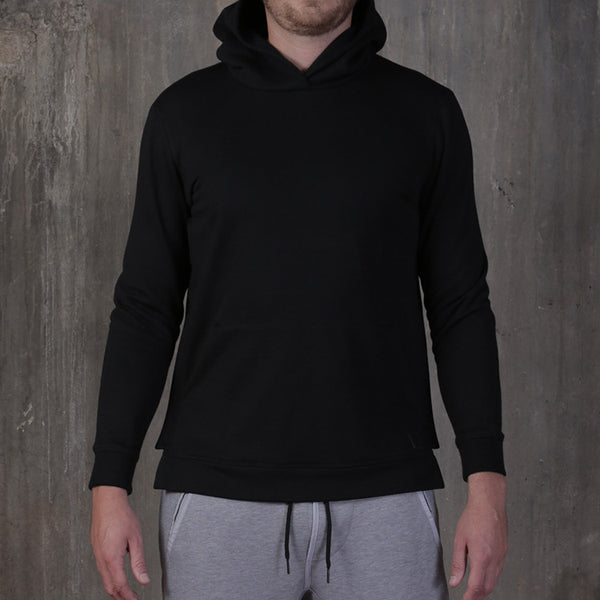 slim fit cotton black hoodie with side zippers