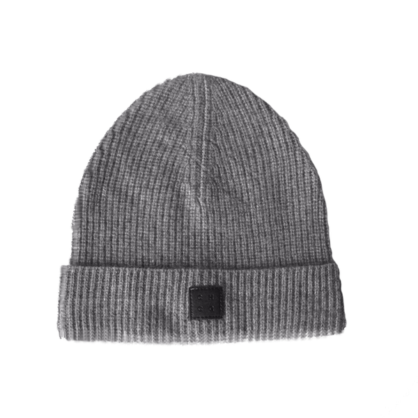 grey ribbed 100% cashmere beanie