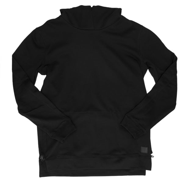 slim fit black hoodie with side zippers