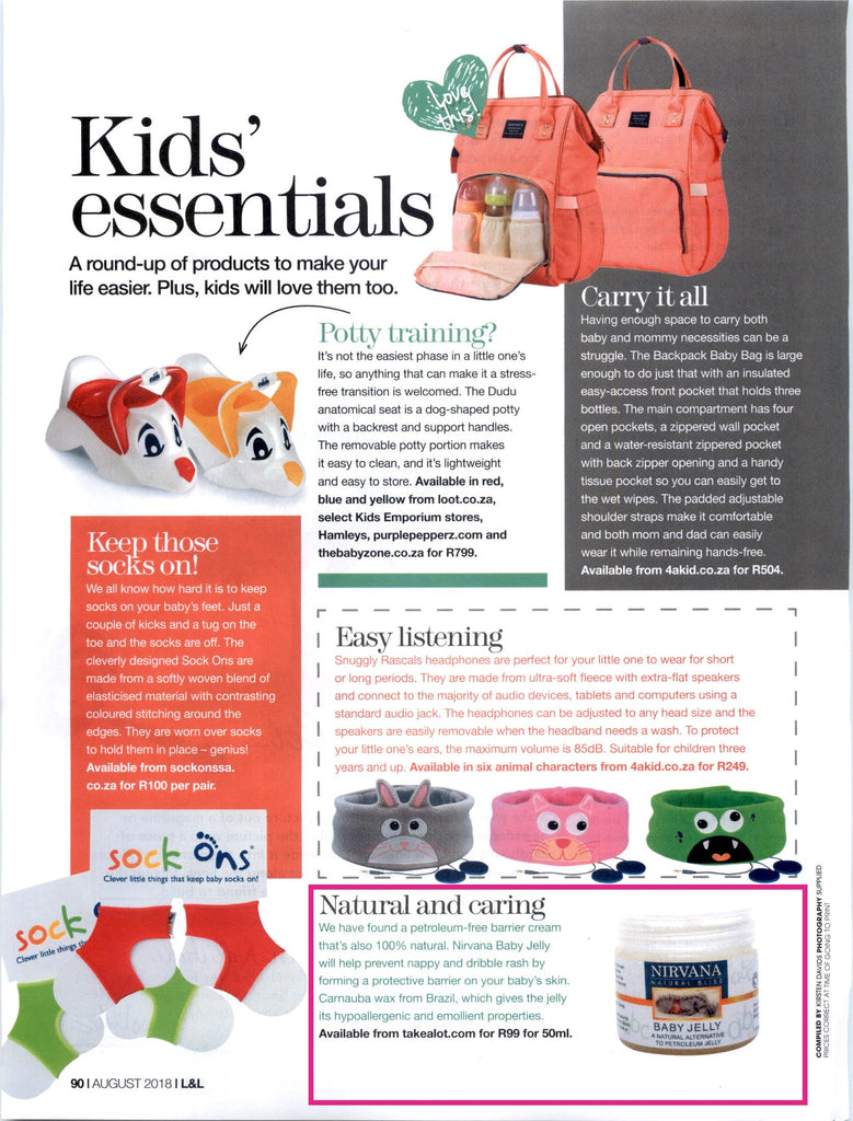 Nirvana Natural Bliss Baby Jelly Featured in Living and Loving Magazine August 2018