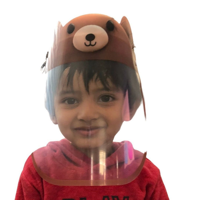 Kids Face Shield (Cute Brown Bear) - Nirvana Natural Bliss Luxury Vegan Skincare & Health Co.