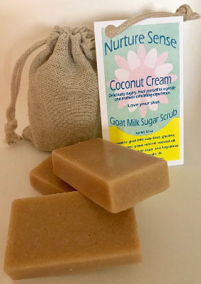 Goat Milk Sugar Scrubs, Coconut Cream (pack of 4 individual one time use soft bars ) 3.5 oz