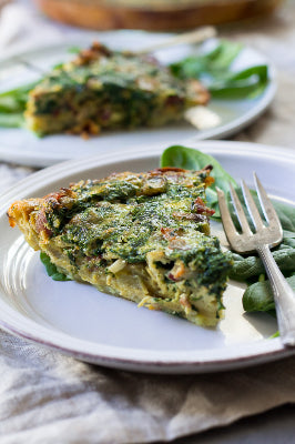"7"" Crustless Bacon Spinach & Caramelized Onion Quiche (Paleo & Whole 30)"